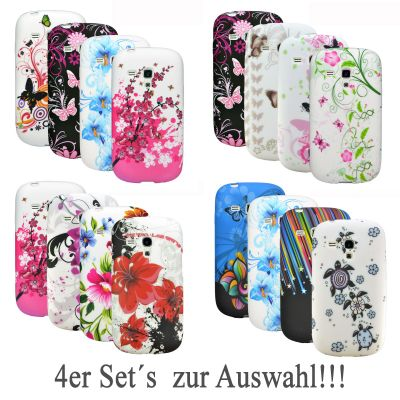 4er Set Silikonhülle Handy Tasche TPU Gel Silikon Case Schutz Hülle Cover Etui