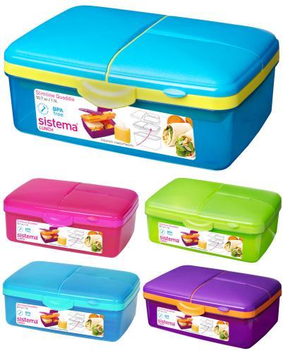 sistema lunchbox quaddie mit 4 f chern und trinkflasche 1. Black Bedroom Furniture Sets. Home Design Ideas