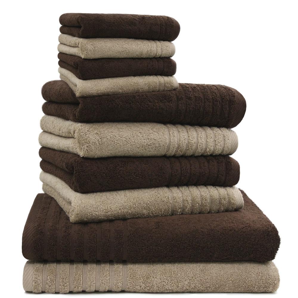 10 tlg. Handtuchset, 2 Duschtücher, 4 Handtücher, 4 WHS 565 g/m² braun beige   eBay