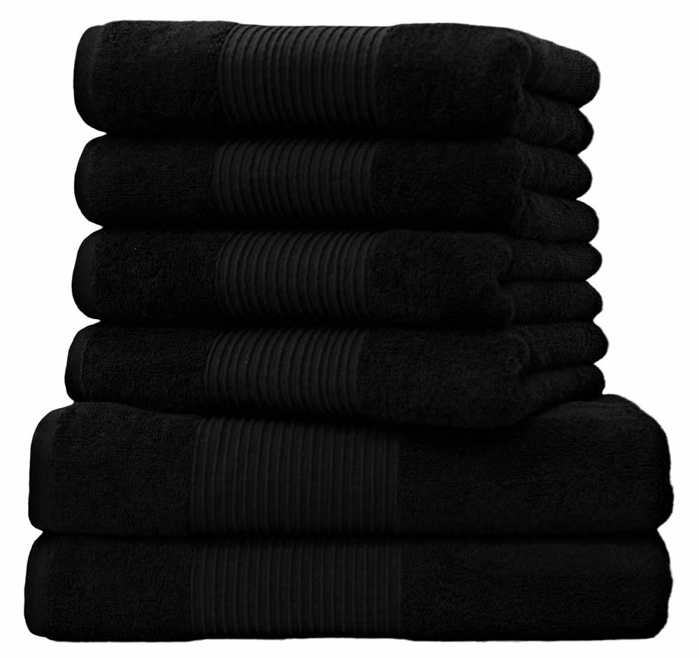 6 tlg handtuchset 2 duscht cher badet cher 4 handt cher schwarz ebay. Black Bedroom Furniture Sets. Home Design Ideas