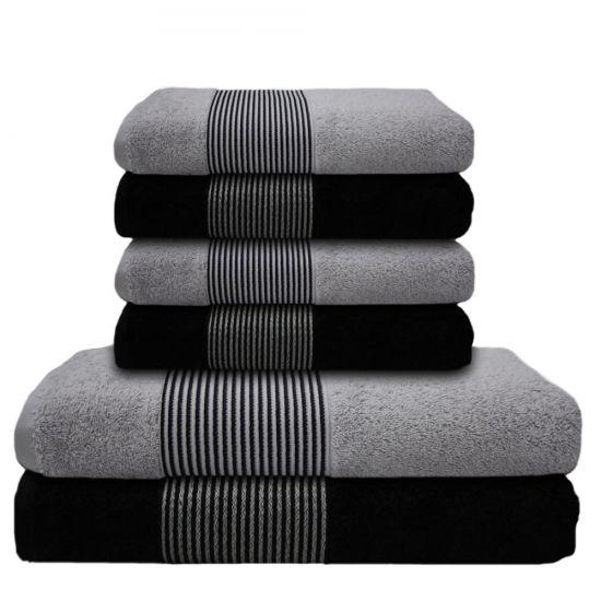 6 tlg handtuch set 2 duscht cher badet cher 4 handt cher schwarz hell grau ebay. Black Bedroom Furniture Sets. Home Design Ideas