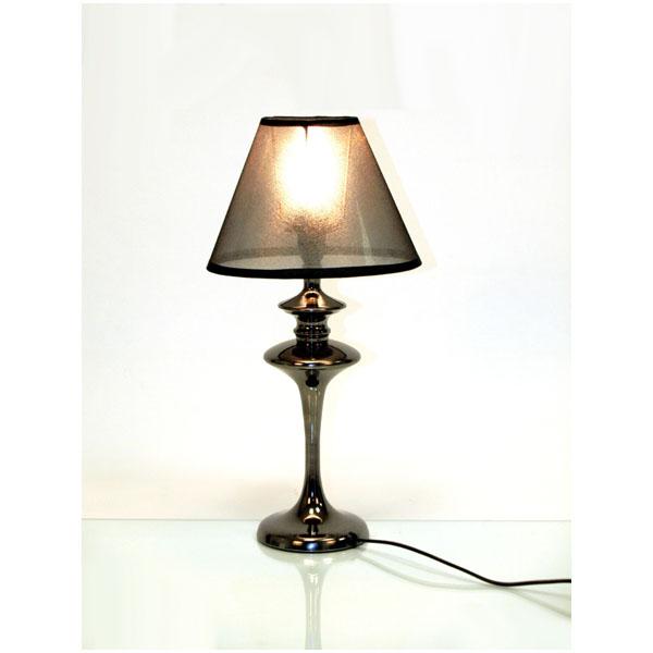 Tischlampe aus metall mit pvc lampenschirm in schwarz for Lampenschirm tischlampe