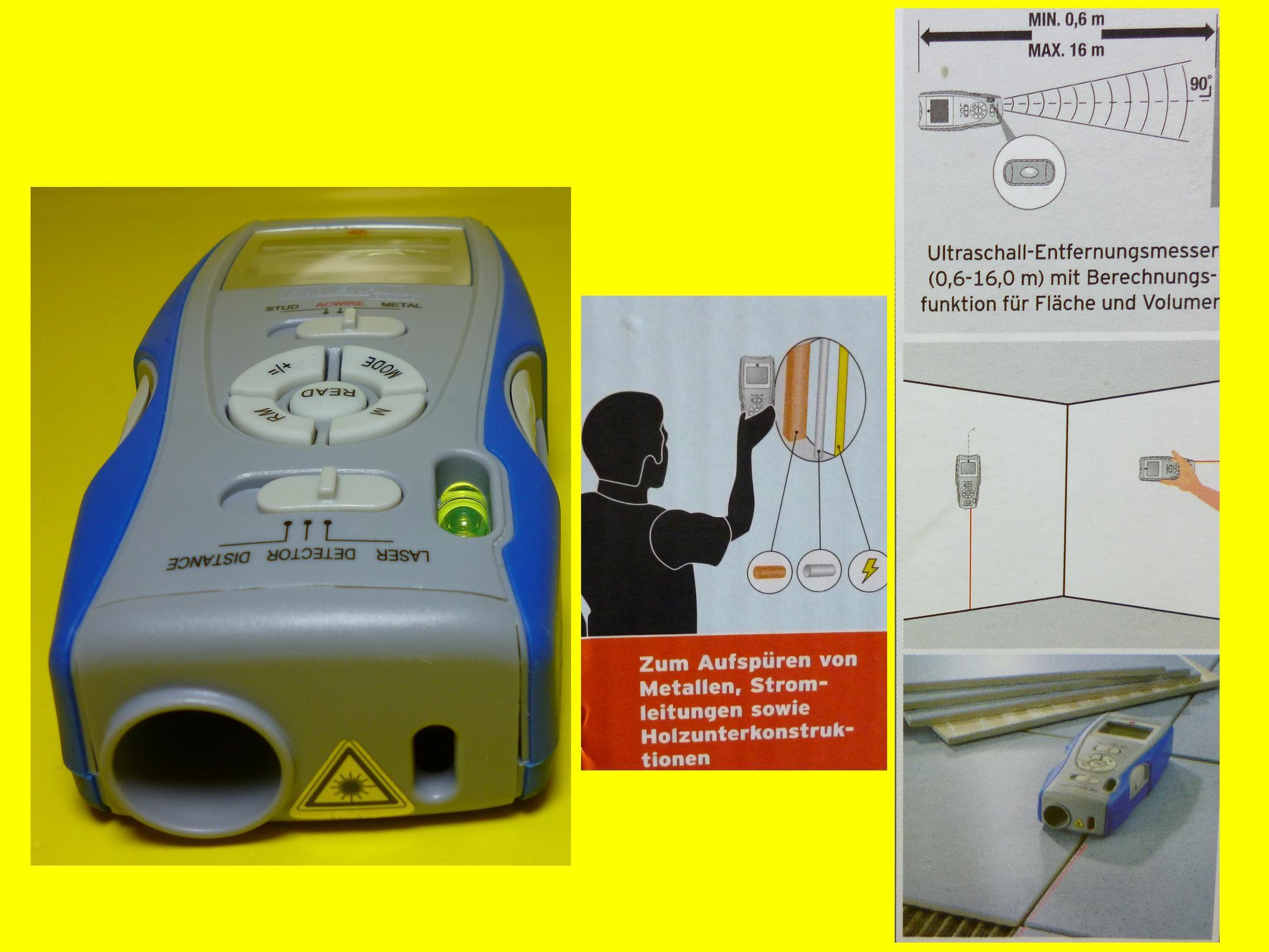 jauge / multidetektor-5 en 1 fonctions/distancemètre/niveau à bulle