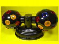 ZWILLINGS-DISCO-PARTY-KUGEL je 12 cm / Rotierende Leuchtkugel mit je 23 farbigen