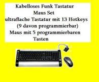 Multimedia Wireless/Funk Tastatur Slim/optische Maus PS/2/USB/Anschluss