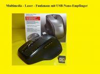 Gamer Funk-maus/Multimedia / 4 Wege Scrollrad / 8Tasten mit USB -Nano-Empfänger
