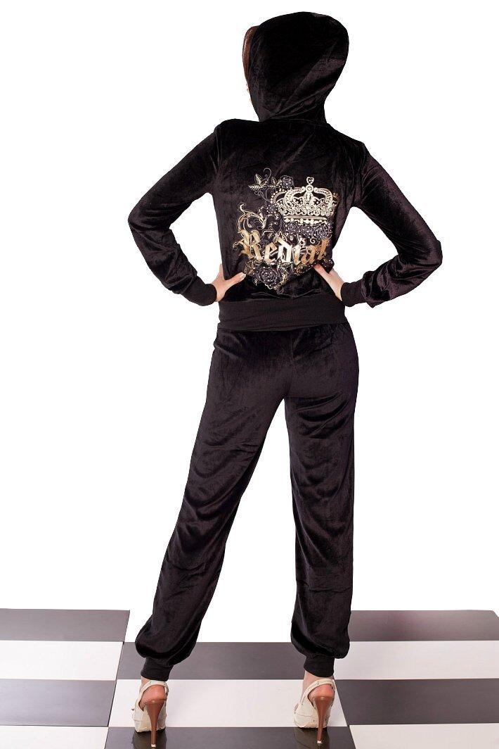 sexy damen nicky jogging und freizeitanzug in schwarz wei u rosa mit strass ebay. Black Bedroom Furniture Sets. Home Design Ideas