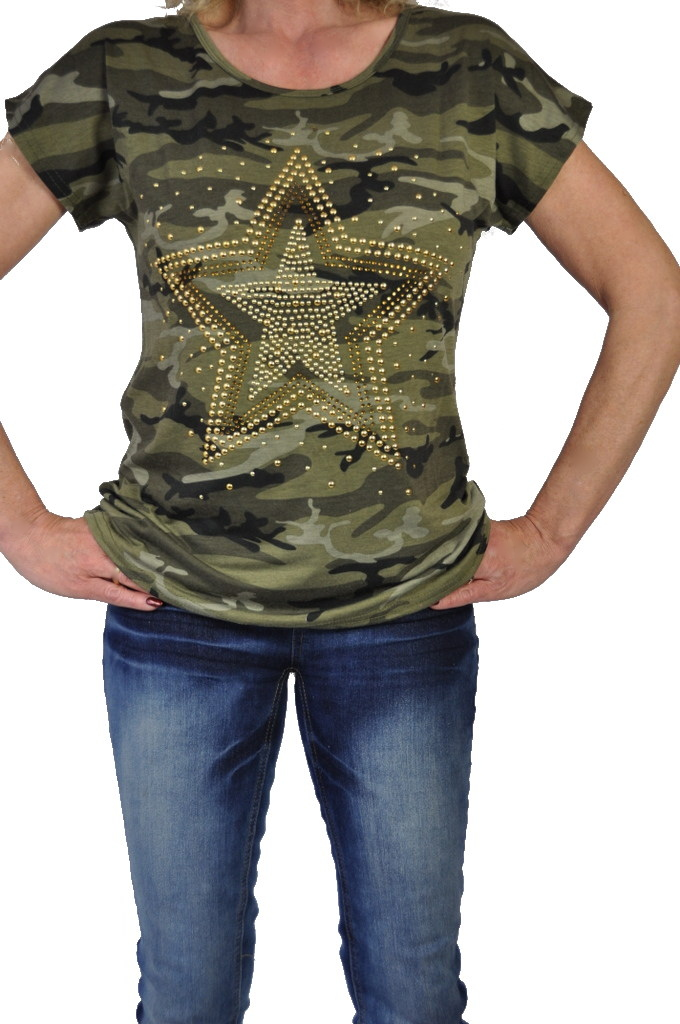stylisches damen army t shirt camouflage muster ebay. Black Bedroom Furniture Sets. Home Design Ideas