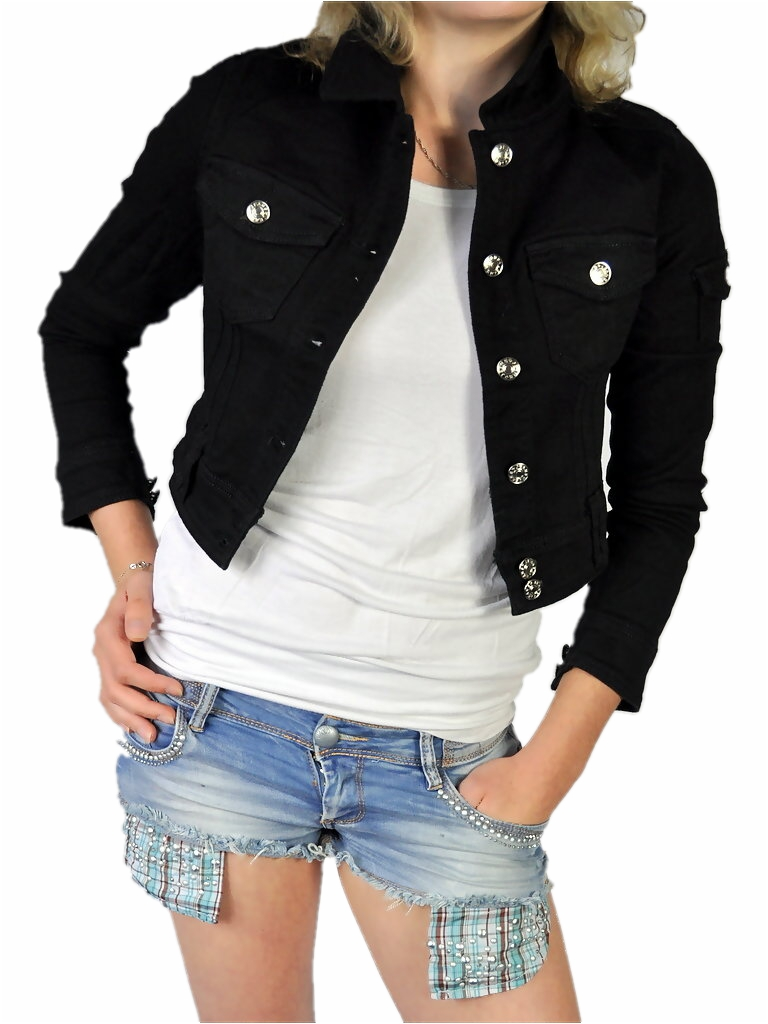Damen denim jeansjacke bolero kurz tailliert 3 4 arm in for Schwarze jeansjacke damen