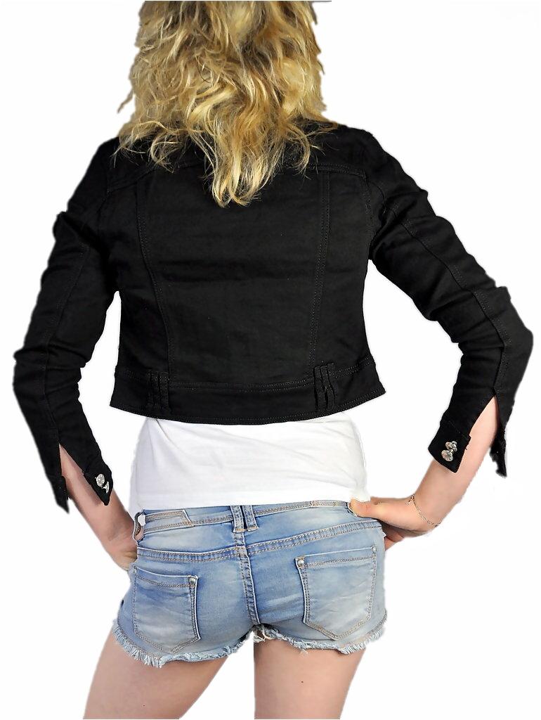 damen denim jeansjacke bolero kurz tailliert 3 4 arm in. Black Bedroom Furniture Sets. Home Design Ideas