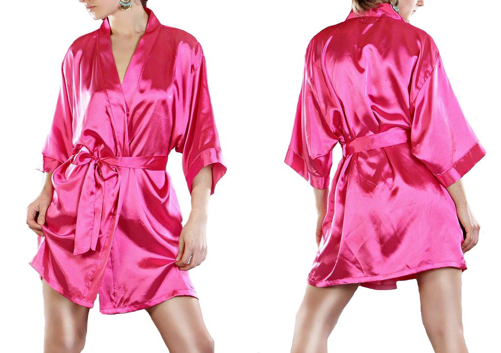 damen morgenmantel nachtw sche kurz kimono negligee satin. Black Bedroom Furniture Sets. Home Design Ideas