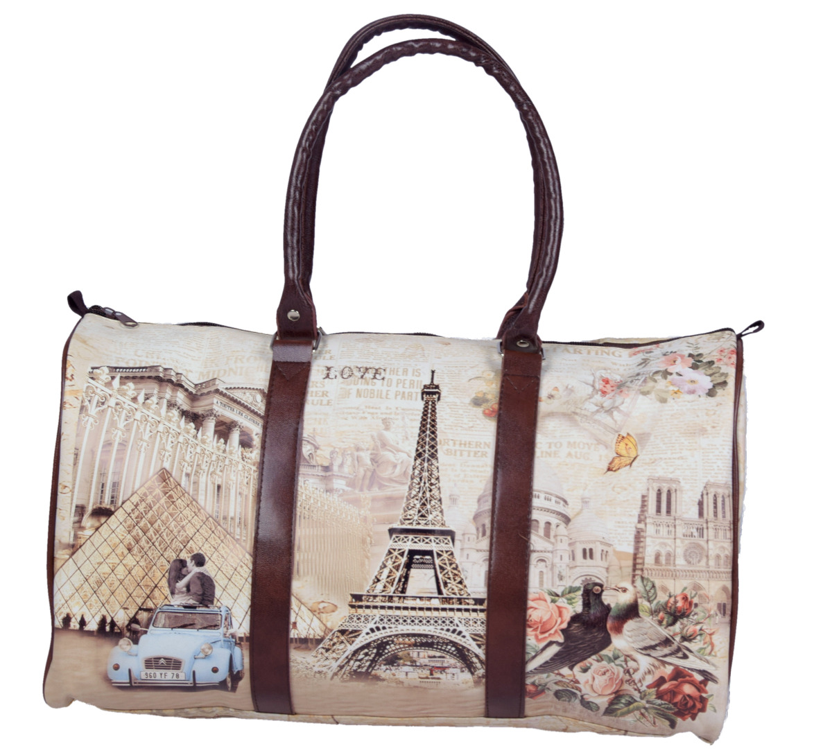 damen handtasche schultertasche shopper in london paris vintage style 44x20x26 ebay. Black Bedroom Furniture Sets. Home Design Ideas