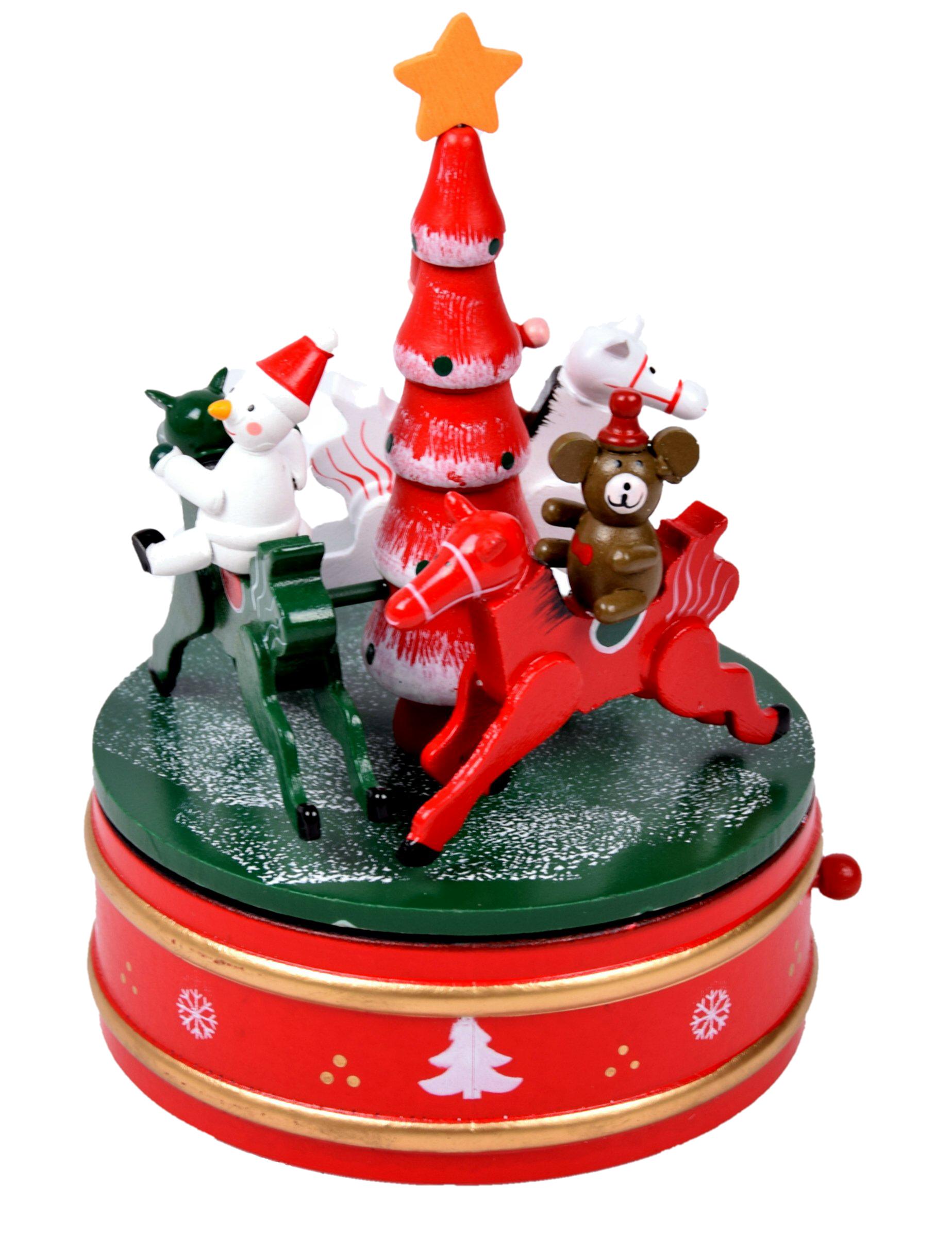 weihnachtsdeko schaukelpferd karussell aus holz mit spieluhr, Moderne