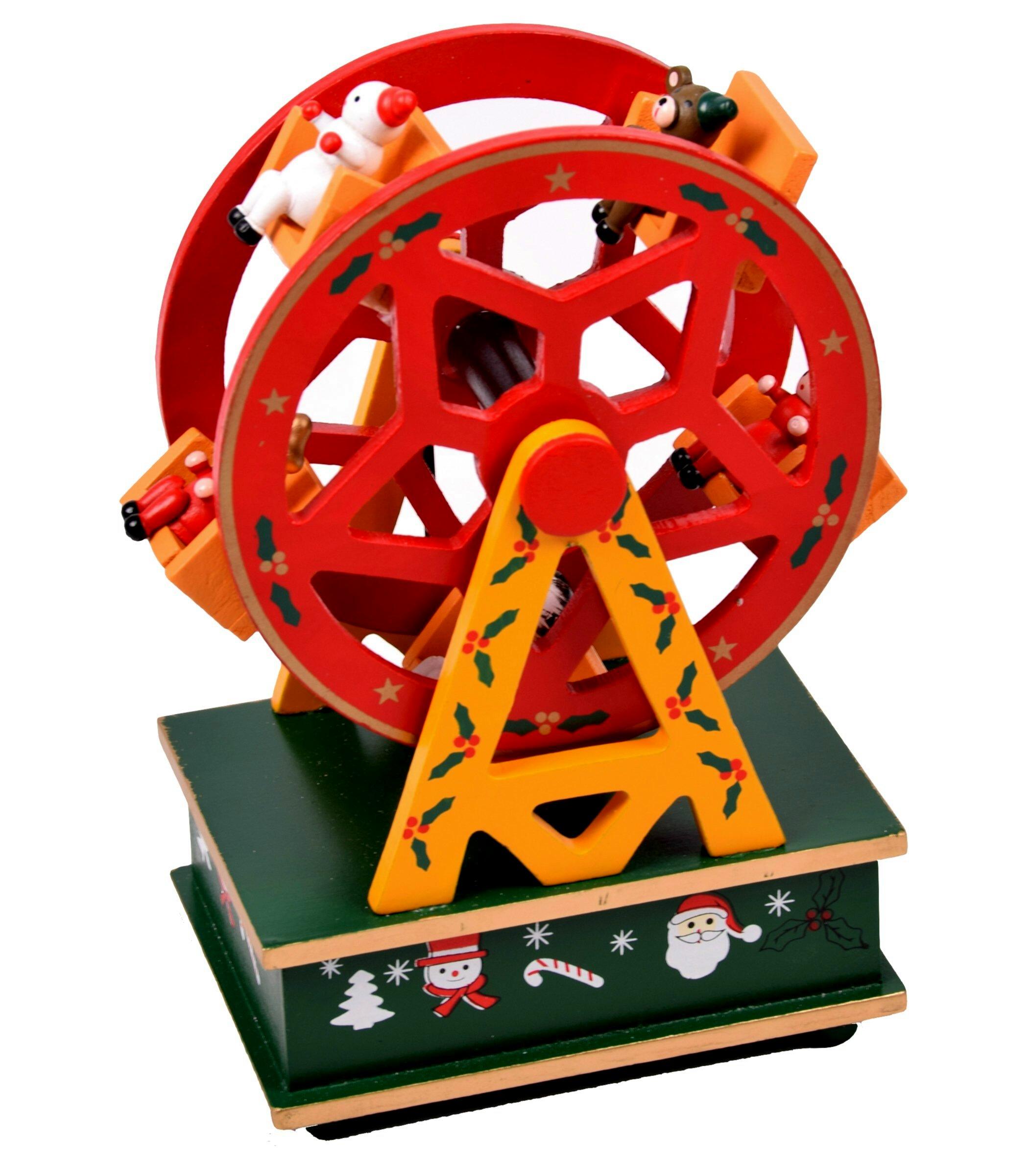 weihnachtsdeko riesenrad aus holz mit spieluhr f r weihnachten 20x13 cm ebay. Black Bedroom Furniture Sets. Home Design Ideas