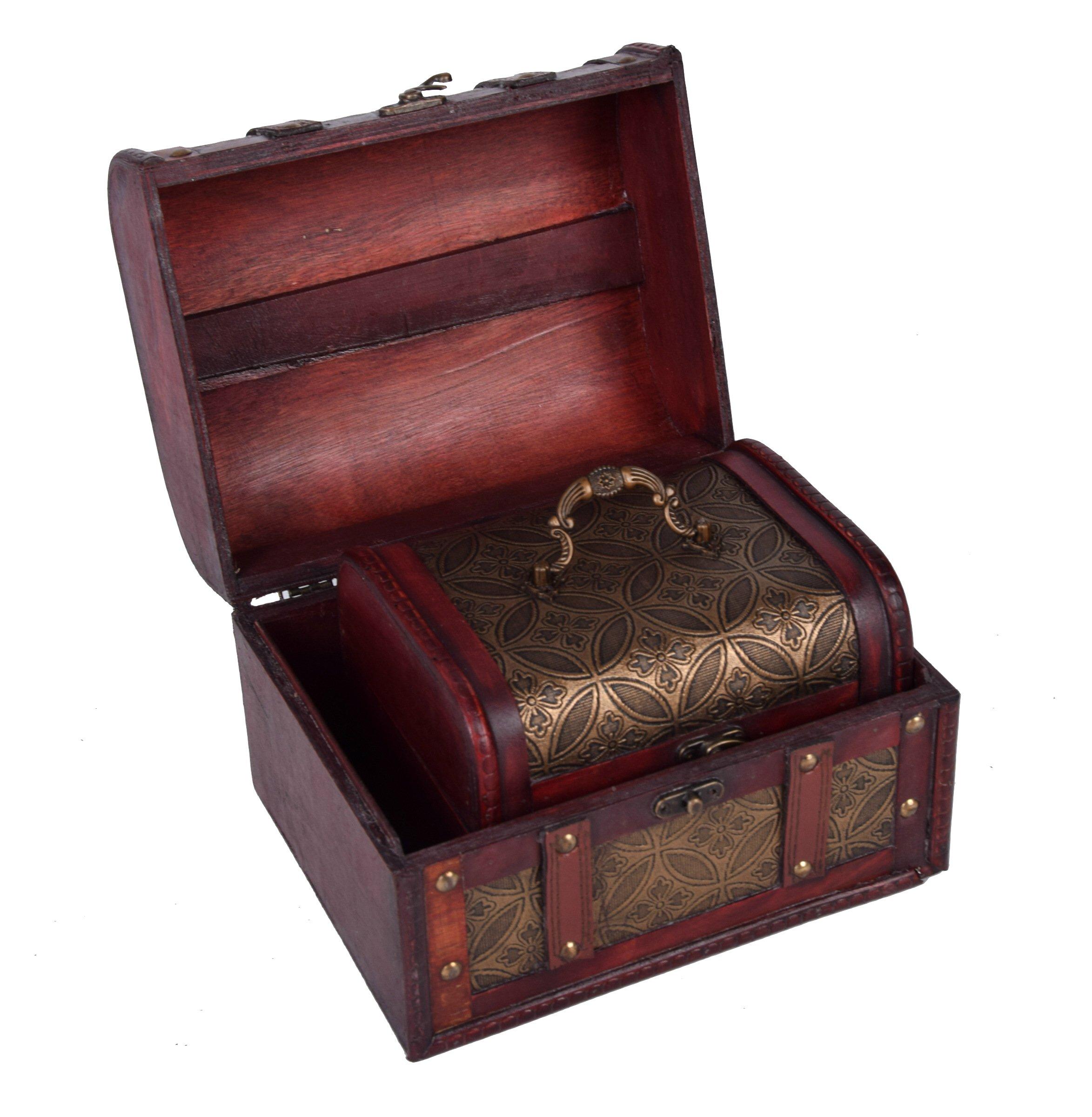 3er set deko holztruhen aufbewahrungsbox schatzkisten aus holz mit musterung. Black Bedroom Furniture Sets. Home Design Ideas