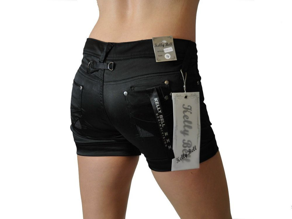 sexy kelly damen glanz hotpants shorts kurze hose xs xl ebay. Black Bedroom Furniture Sets. Home Design Ideas