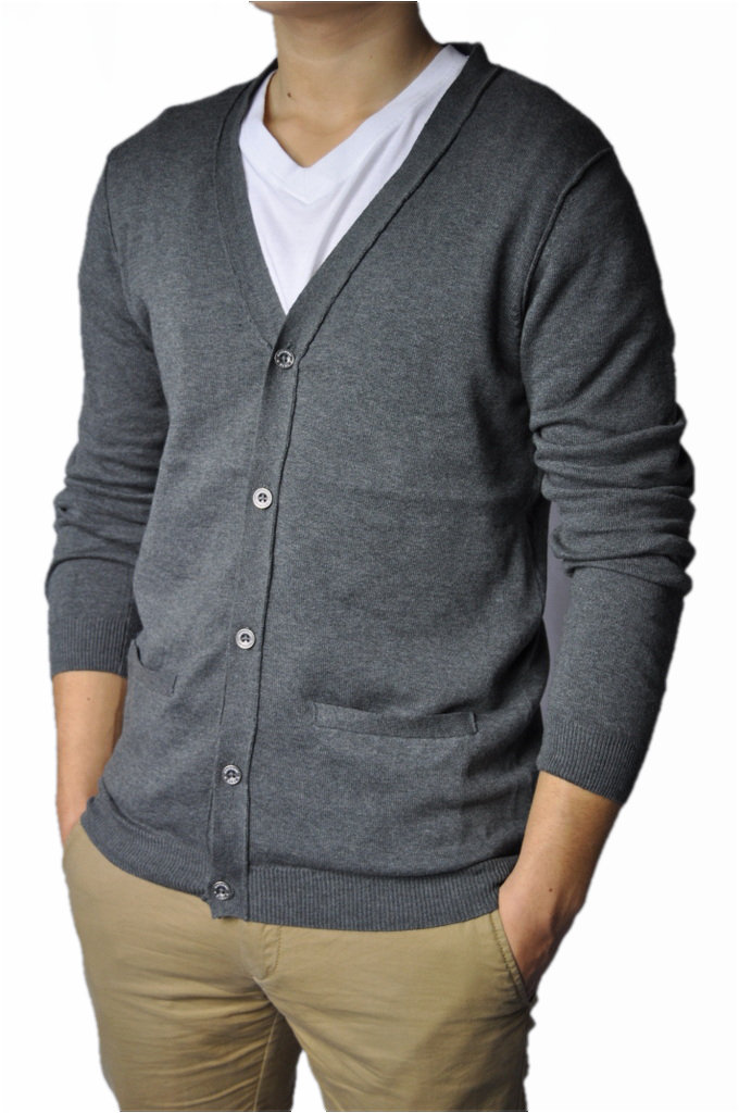 herren v neck cardigan v ausschnitt strickjacke in grau ebay. Black Bedroom Furniture Sets. Home Design Ideas