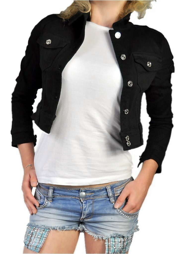 damen denim jeansjacke bolero kurz tailliert 3 4 arm in schwarz ebay. Black Bedroom Furniture Sets. Home Design Ideas