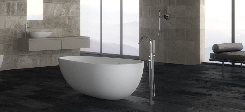 freistehende mineralguss badewanne silent aus in matt 1700x870x550 mm ebay. Black Bedroom Furniture Sets. Home Design Ideas