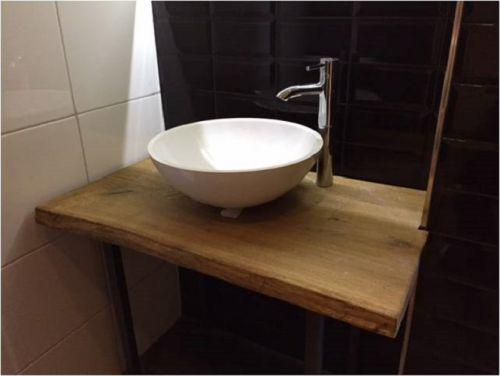 Waschtischplatte 106x55x3 5 cm eiche mit baumkante vollmassiv echtholz unikat ebay - Waschtischplatte echtholz ...