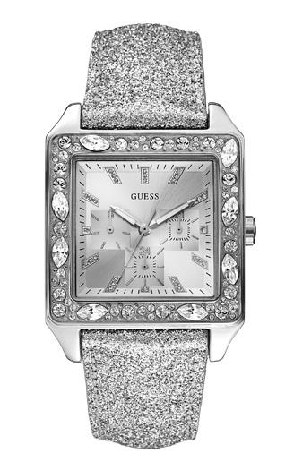 Damenuhren silber guess  NEU! GUESS Uhr Damenuhr Glitzed Ice W0049L1 Armbanduhr eckig ...