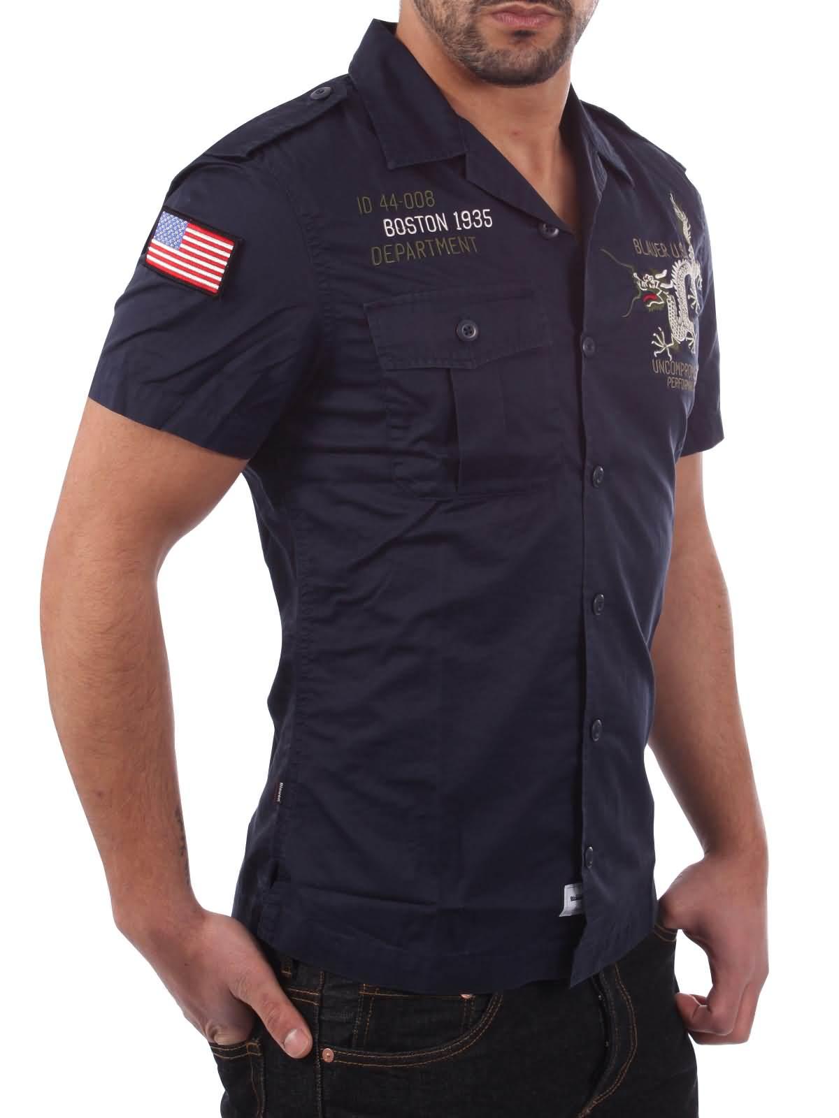 blauer usa herren kurzarm hemd camicia in marineblau. Black Bedroom Furniture Sets. Home Design Ideas