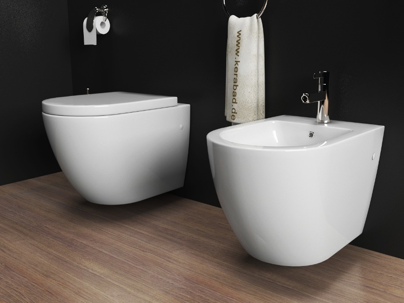 wand h nge wc h nge bidet inkl soft close wc sitz kb76 set ebay. Black Bedroom Furniture Sets. Home Design Ideas