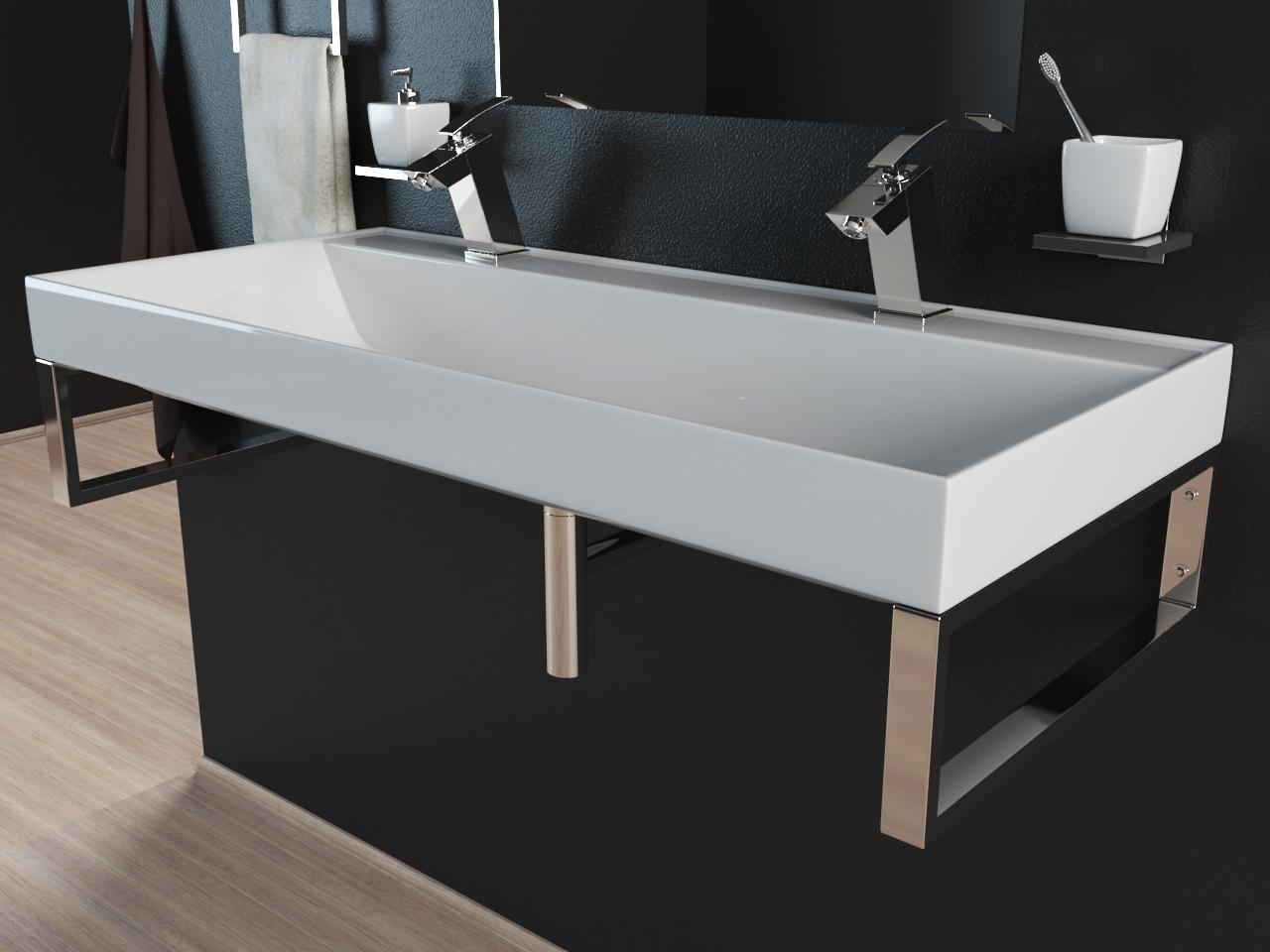 mineralguss waschbecken waschtisch aufsatzwaschbecken mit konsolen 100cm kb m100 ebay. Black Bedroom Furniture Sets. Home Design Ideas