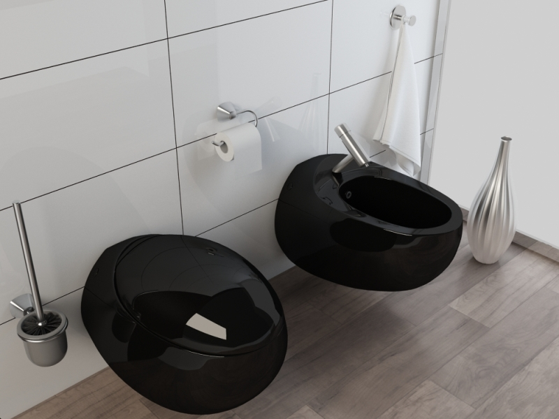 design h nge wc h nge bidet kb01s set schwarz ebay. Black Bedroom Furniture Sets. Home Design Ideas