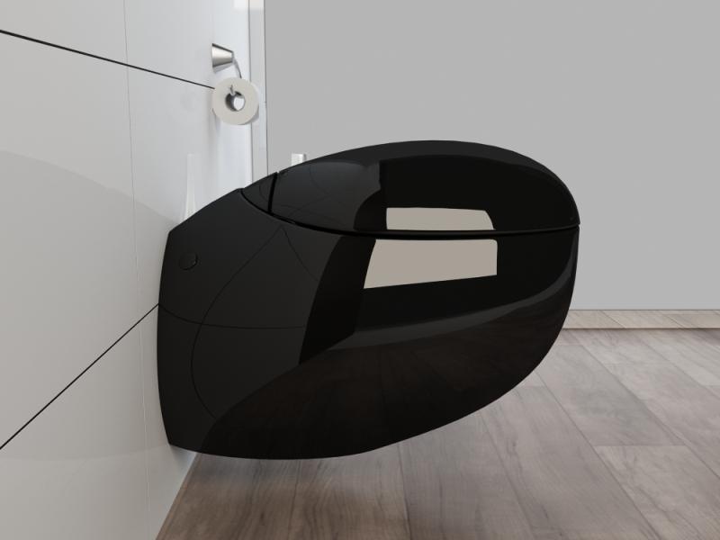 wand h nge wc h nge bidet inkl wc sitz kb01s set schwarz ebay. Black Bedroom Furniture Sets. Home Design Ideas