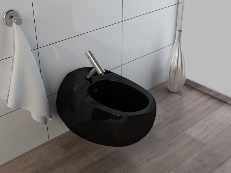 wand h nge wc h nge bidet inkl wc sitz kb01s set schwarz ebay. Black Bedroom Furniture Sets. Home Design Ideas