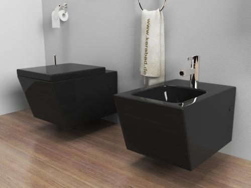 wand h nge wc h nge bidet inkl wc sitz kb89s set schwarz ebay. Black Bedroom Furniture Sets. Home Design Ideas