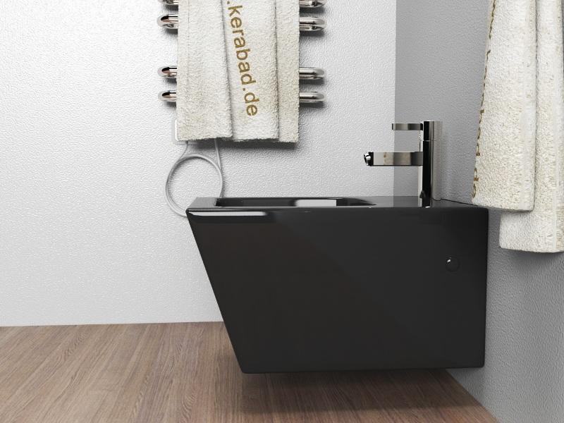 wand h nge wc h nge bidet inkl wc sitz kb89s set schwarz ebay. Black Bedroom Furniture Sets. Home Design Ideas