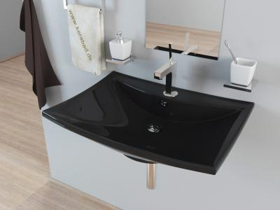 keramik waschbecken aufsatzwaschbecken waschtisch kbw084s schwarz ebay. Black Bedroom Furniture Sets. Home Design Ideas