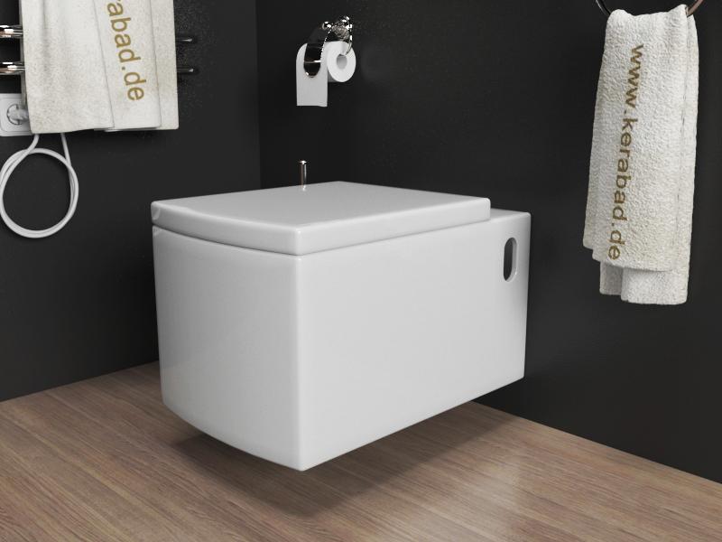 wand h nge wc toilette inkl soft close wc sitz kb90 ebay. Black Bedroom Furniture Sets. Home Design Ideas