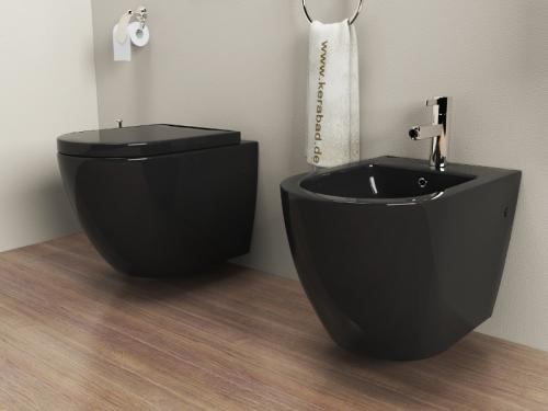 wand h nge wc h nge bidet inkl soft close wc sitz kb76s set schwarz ebay. Black Bedroom Furniture Sets. Home Design Ideas