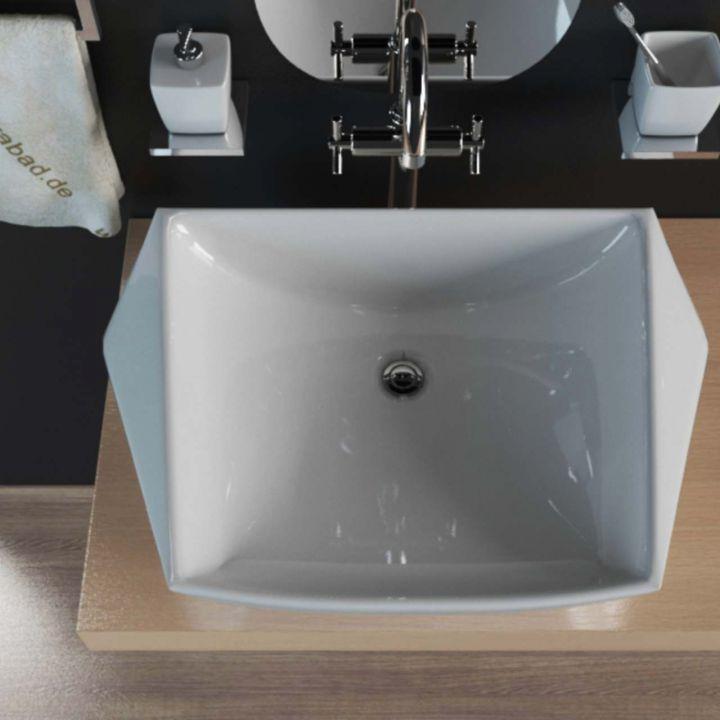 keramik aufsatzwaschbecken waschtisch waschbecken waschschale eckig kbw189 ebay. Black Bedroom Furniture Sets. Home Design Ideas