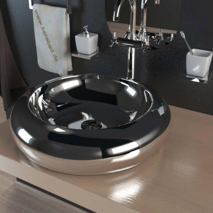 keramik aufsatzwaschbecken waschschale waschbecken kbw100c chrom silber. Black Bedroom Furniture Sets. Home Design Ideas