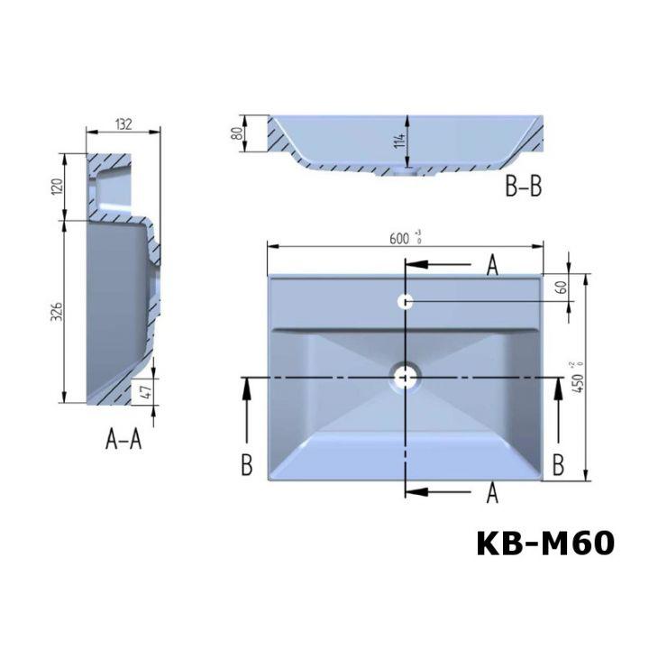 design mineralguss waschbecken waschtisch aufsatzwaschbecken 60cm kb m60. Black Bedroom Furniture Sets. Home Design Ideas