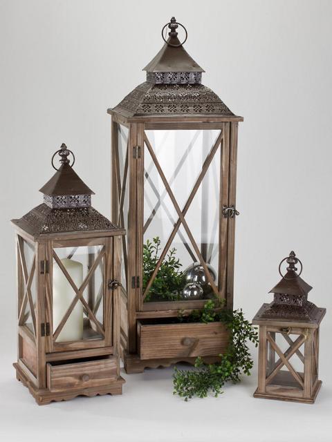 formano laterne aus holz antik mit metall dach 65 cm ebay. Black Bedroom Furniture Sets. Home Design Ideas