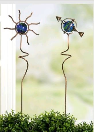 Gilde gartenstecker sonne aus metall 90 cm gartendeko for Metall sonne gartendeko