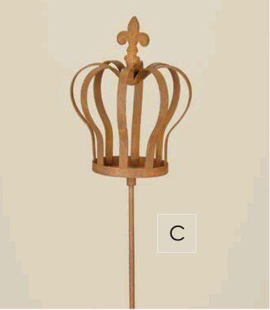 gartenstecker krone aus metall am stab, rost, 98 cm | ebay, Gartenarbeit ideen