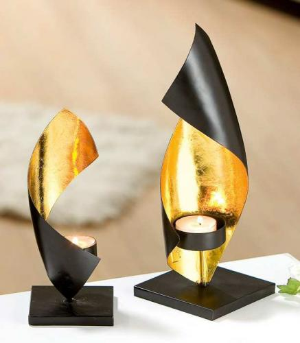 Gilde Deko Teelichthalter Spiralleuchter Aus Metall Schwarz Gold