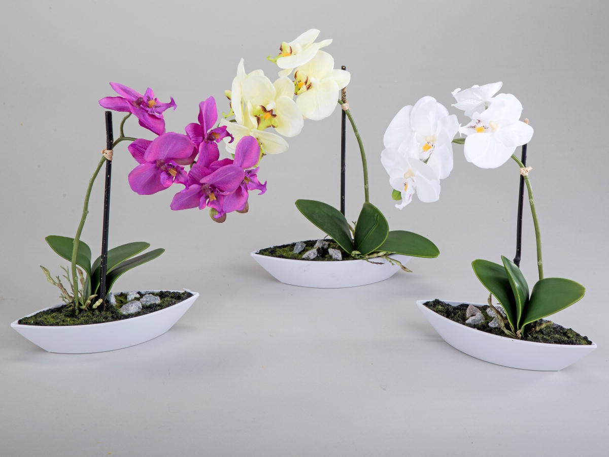 formano kunstblume orchidee im schiffchen 28 cm tischdeko rechts ebay. Black Bedroom Furniture Sets. Home Design Ideas
