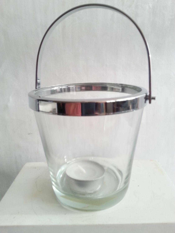 Windlicht teelichhalter kerzenhalter glas chrom gartendeko for Windlicht terrasse