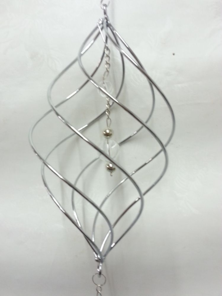 h ngedeko silber spirale abstrakt dekoh nger metallh nger metalldeko fenster ebay. Black Bedroom Furniture Sets. Home Design Ideas