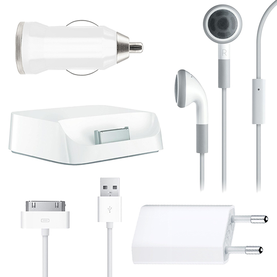 5in1-USB-LADEGERAT-SET-KFZ-KABEL-HEADSET-DOCKING-STATION-Original-iPhone-4-4S-3G