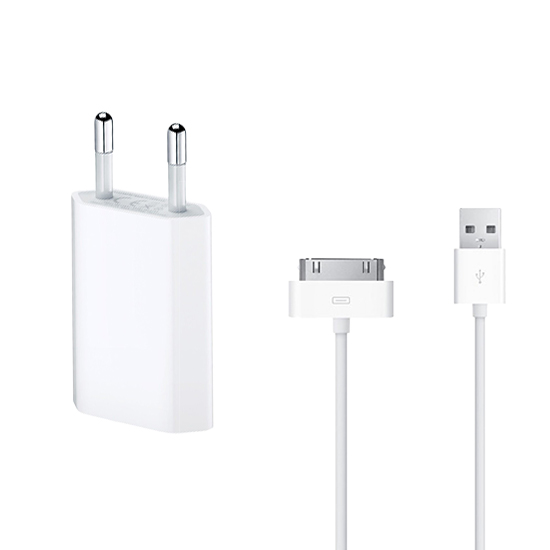 iPhone-4-4S-iPod-iPad-Ladegeraet-SET-USB-Daten-Ladekabel-Netzteil-Charger