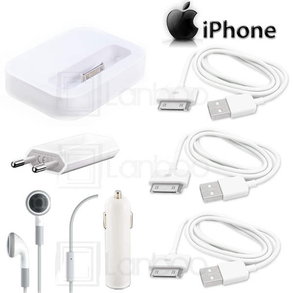 7in1-iPhone-4G-4S-Ladekabel-Dockingstation-Headset-Netzteil-Ladegeraet-WEIss