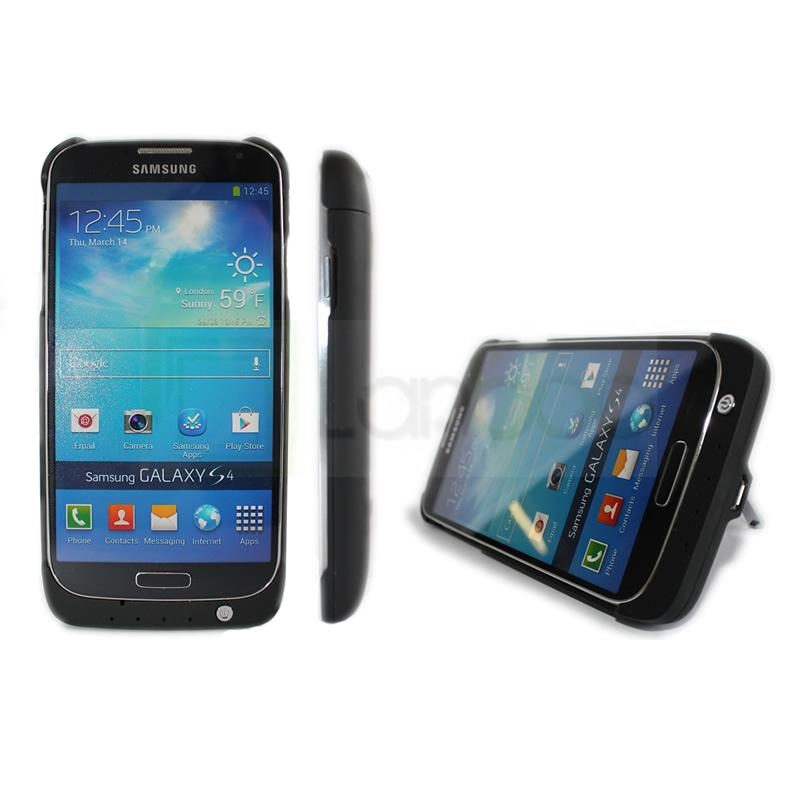 samsung galaxy s4 i9500 externer akku case schwarz 3200mah. Black Bedroom Furniture Sets. Home Design Ideas